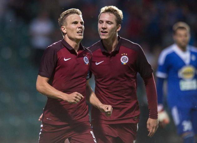 Střelci dvou gólů Sparty Praha Bořek Dočkal (vlevo) a Lukáš Juliš.