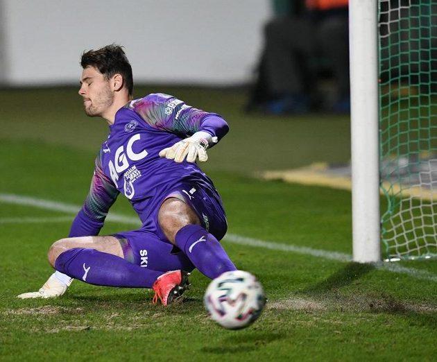 Teplický brankář Luděk Němeček inkasuje gól z penalty.