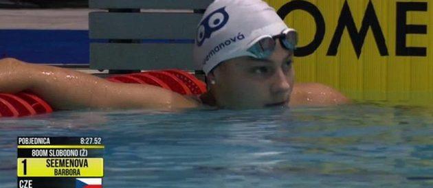 Barbora Seemanová zaplavala v Záhřebu český rekord v krátkém bazénu na 800 m krau