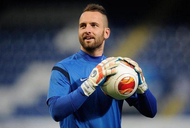 Brankář Slovanu Liberec Přemysl Kovář na tréninku před zápasem se Sevillou.