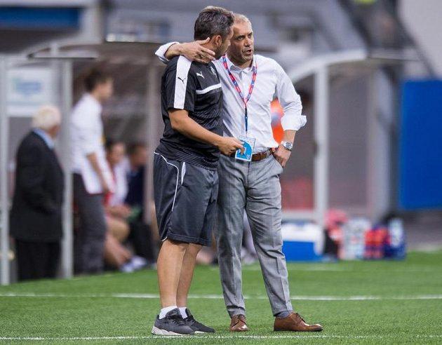 Plzeňský trenér Roman Pivarník (vpravo) a asistent Pavel Horváth.