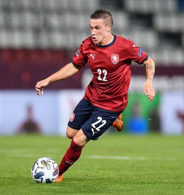 Tomáš Malínský během utkání Ligy národů se Skotskem.