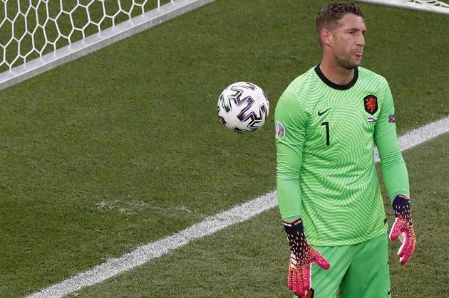 Nizozemský brankář Maarten Stekelenburg a jeho zklamání po inkasované brance v osmifinále EURO s Českem.