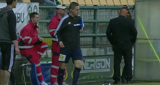 Marek Pilný v zápase Příbram - Slavia.