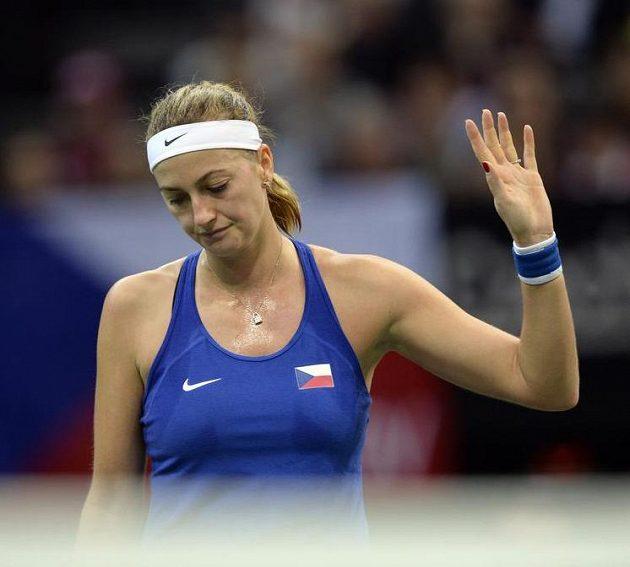 Petra Kvitová během dramaického úvodního duelu.