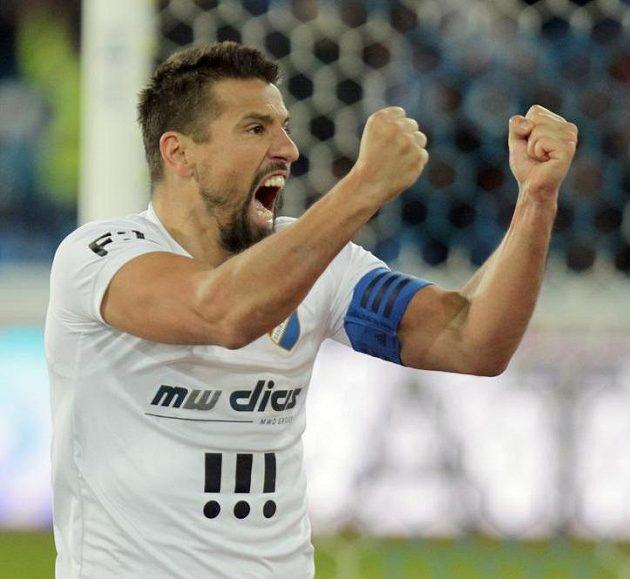 První gól zápasu s Libercem vstřelil ostravský Milan Baroš.