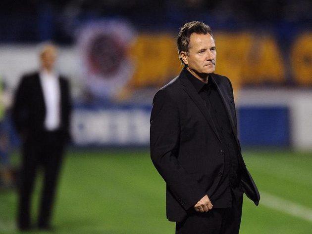 Trenér Baníku Ostrava František Komňacký během utkání se Spartou.