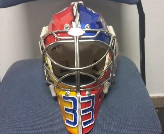 Maska Pavla Franocuze pro mistrovství světa v Rusku.