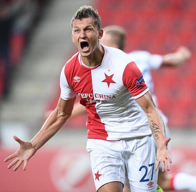 Radost Tomáše Necida ze Slavie po vstřeleném gólu.