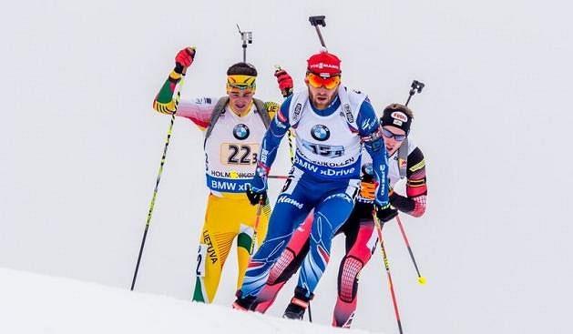 Michal Šlesingr coby finišman české štafety na MS v Oslu.