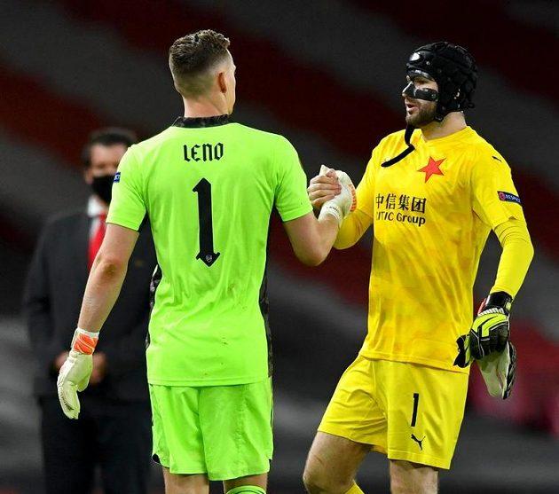 Jsi dobrej, oceňují se brankáři... Bernd Leno z Arsenalu a slávista Ondřej Kolář.