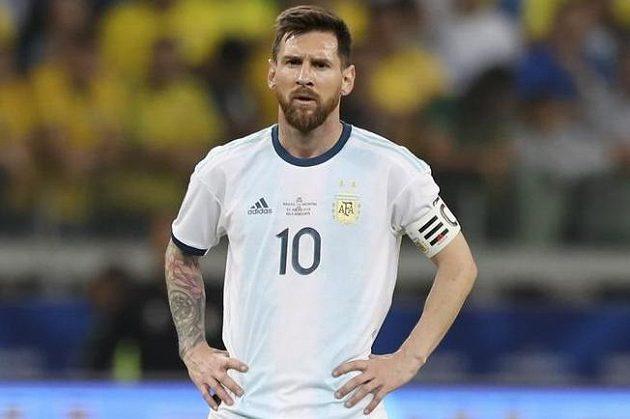 Zklamaný argentinský fotbalový reprezentant Lionel Messi.