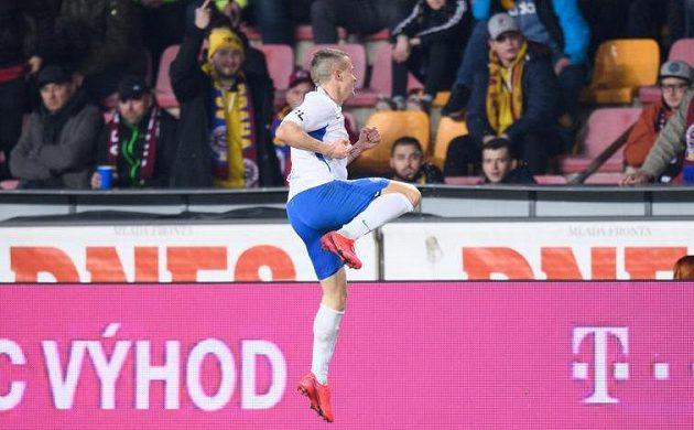 Euforie. Tomáš Malinský ze Slovanu Liberec oslavuje gól na hřišti Sparty.