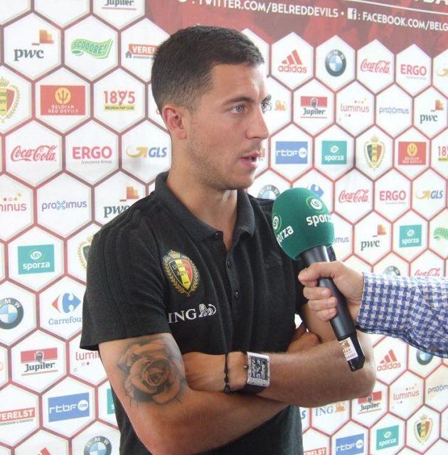 Kapitán Belgie Eden Hazard před zápasem s českým týmem.