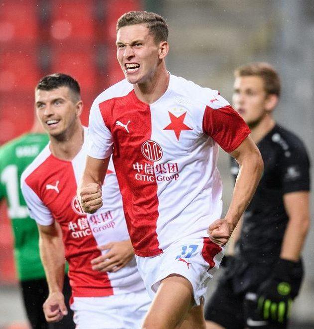 Lukáš Provod ze Slavie Praha oslavuje gól na 1:0 během utkání 2. kola Fortuna ligy s Příbramí.