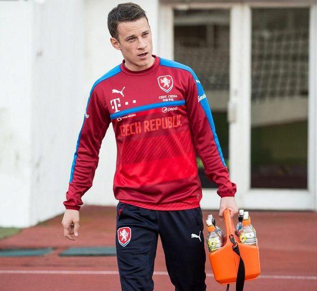 Jan Sýkora během tréninku fotbalové reprezentace.