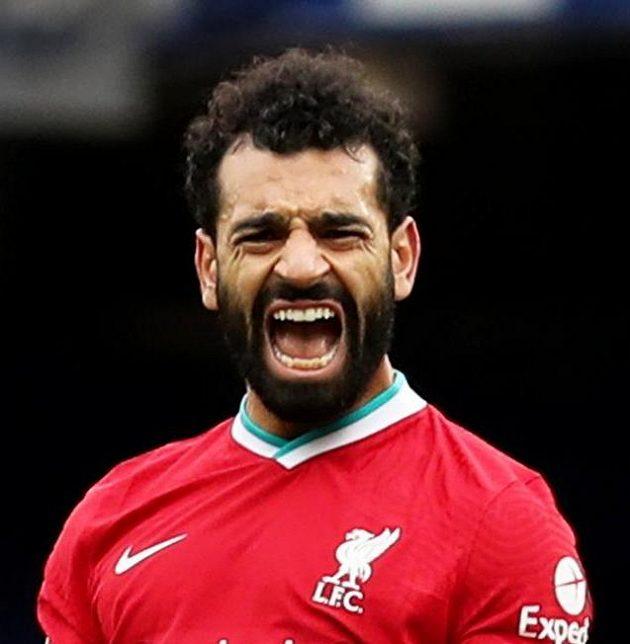 Mohamed Salah slaví stý gól v dresu Liverpoolu.