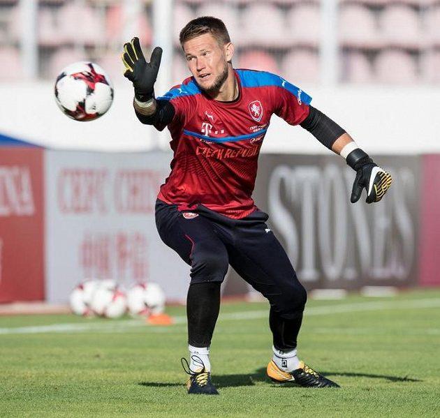 Tomáš Vaclík v palbě střel na tréninku.