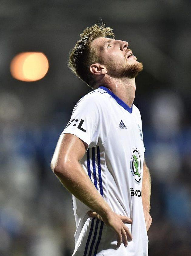 Zklamaný Ladislav Takács z Mladé Boleslavi po prohraném utkání 3. předkola Evropské ligy s FCSB.