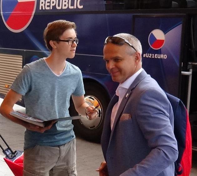 Trenér Vítězslav Lavička po příjezdu české fotbalové reprezentace do 21 let na ME do Polska.