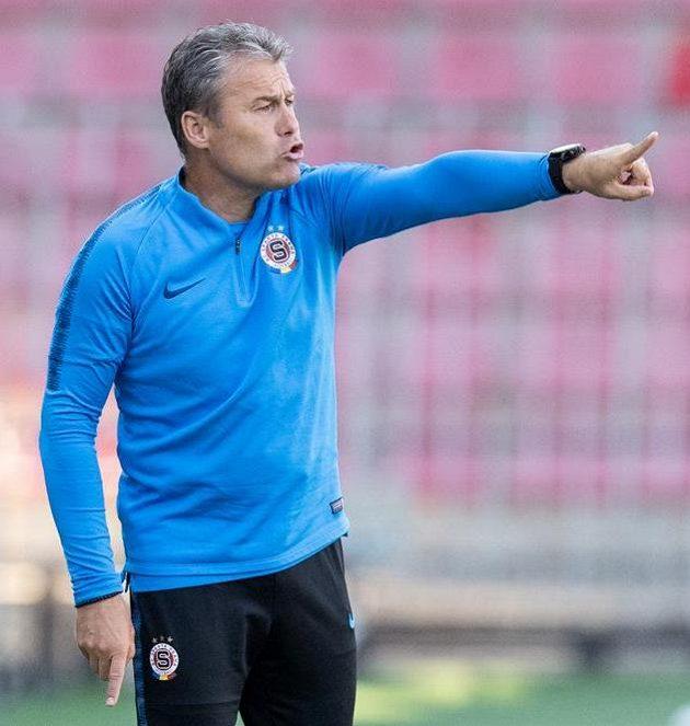 Trenér Sparty Pavel Hapal během utkání s Lubinem.