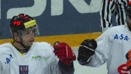 Hokejisté Znojma oslavují vítězství.