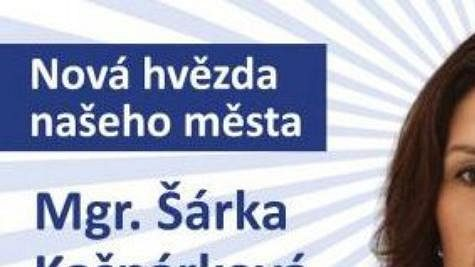 Bývalá atletka Šárka Kašpárková na volebním plakátu.