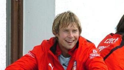 Jaroslav Plašil a Milan Baroš při tréninku české fotbalové reprezentace v Seefeldu.