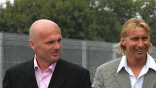 Prezident Sparty Jozef Chovanec a nová trenérská dvojice Michal Bílek (vlevo) a jeho aistent Horst Siegl.