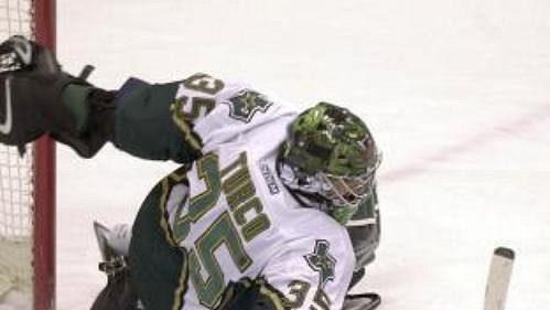 Český hokejista v dresu Edmontonu Oilers Aleš Hemský se snaží překonat brankáře Dallas Stars Martyho Turka.