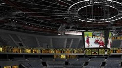 Předpokládaný pohled z klubových sedadel v hale Sazka Arena