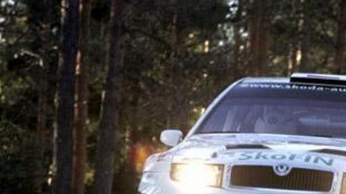 Jan Kopecký svozem Škoda Fabia WRC na trati Švédské rallye.