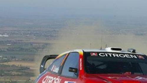 Sebastien Loeb s citroënem na trati Mexické rallye.