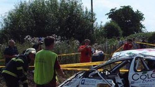 Poničený vůz Honda Civic Type R posádky Koukola-Kouřil.
