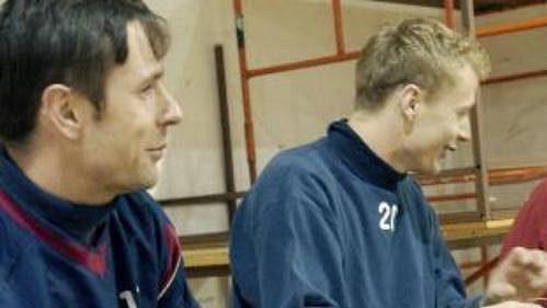Fotbalisté Sparty Praha (zleva) Josef Obajdin, Jiří Jarošík a Karel Poborský na prvním tréninku.