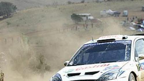Estonec Markko Märtin na trati druhé etapy Mexické rallye.