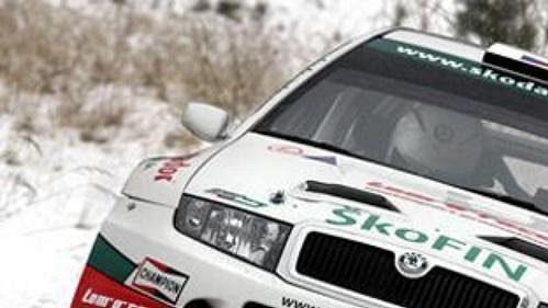 Jan Kopecký s Filipem Schovánkem při testech vozu Škoda Fabia WRC v Bělé pod Bezdězem.
