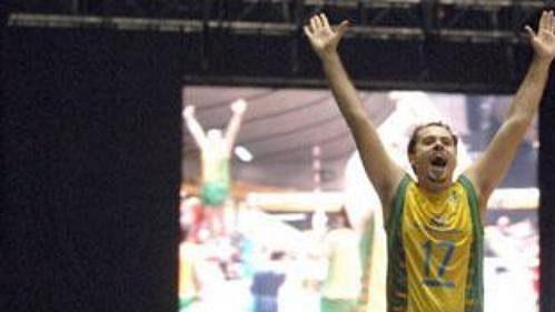 Zlatá radost volejbalistů Brazílie.