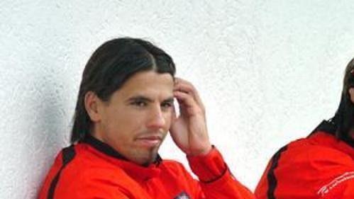 Milan Baroš na tréninku české fotbalové reprezentace.