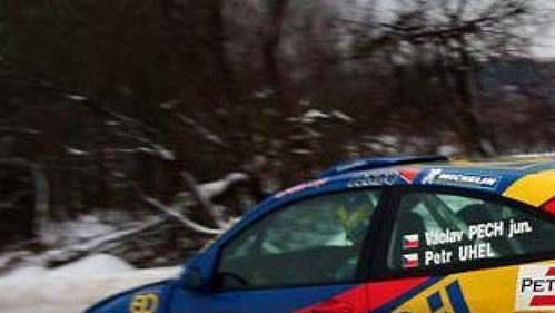Václav Pech sFordem Focus WRC na trati 40. ročníku Rallye Šumava.