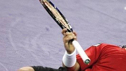 Radost argentinského tenisty Davida Nalbandiana po triumfu na Turnaji mistrů v roce 2005.