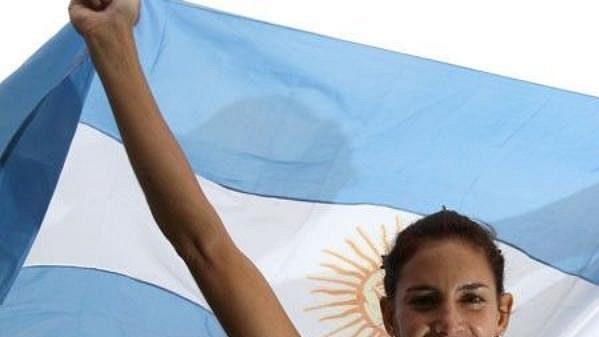 Argentinská hvězda pozemního hokeje Luciana Aymarová.