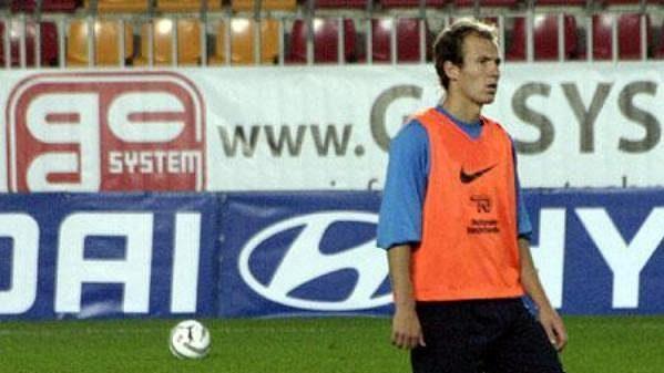 Arjen Robben během tréninku nizozemské reprezentace