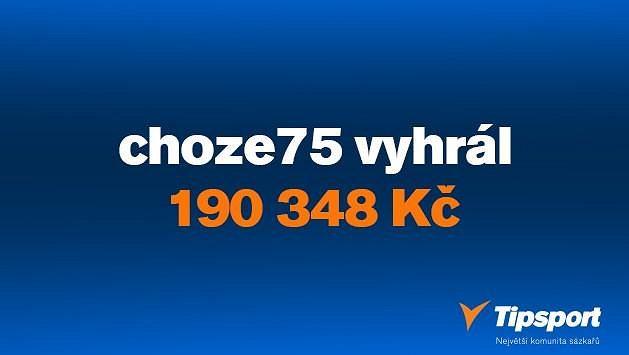 """Pohárová hvězda sázkař """"choze75"""" vyhrál 190 tisíc za stovku!"""