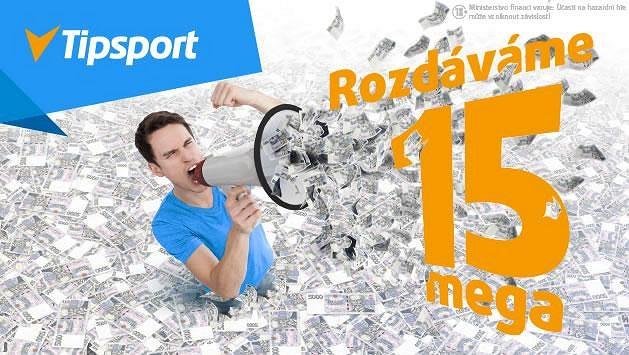V Tipsportu rozdáváme 15 mega! Naskočte do soutěže a získejte podíl z nabitého banku!