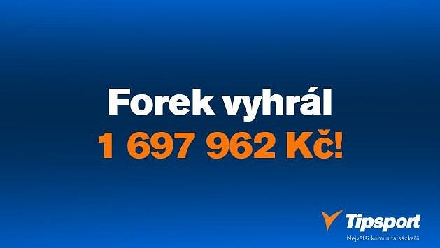 """Sázkař """"Forek"""" vyčaroval z tisícovky 1 697 962 korun a k výhře pomohl i dalším sázkařům Tipsportu!"""