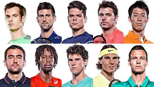 Deset nejlepších tenistů letošní sezóny - horní řada zleva: A. Murray, Djokovič, Raonic, Wawrinka a Nišikori, dolní řada zleva: Čilič, Monfils, Thiem, Nadal a Berdych.