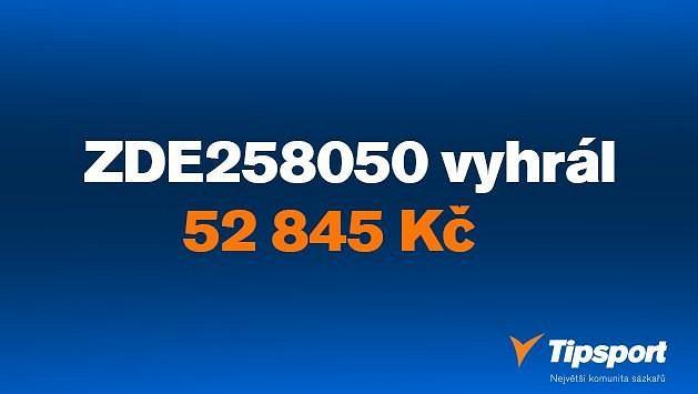 """Sázkař """"ZDE258050"""" vsadil dvacku a vyhrál 52 tisíc!"""