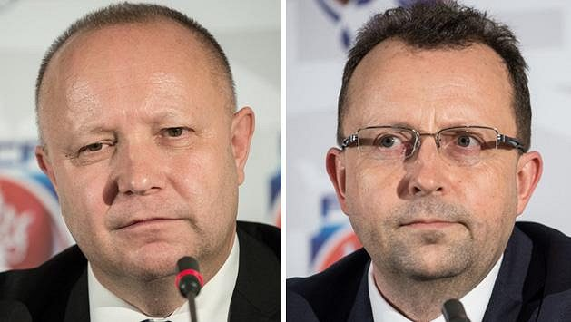 Kandidáti na předsedu FAČR - zleva Petr Fousek a Martin Malík.