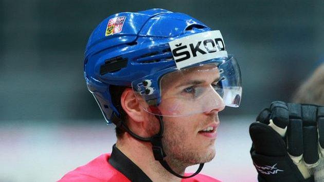 David Krejčí na tréninku hokejové reprezentace.